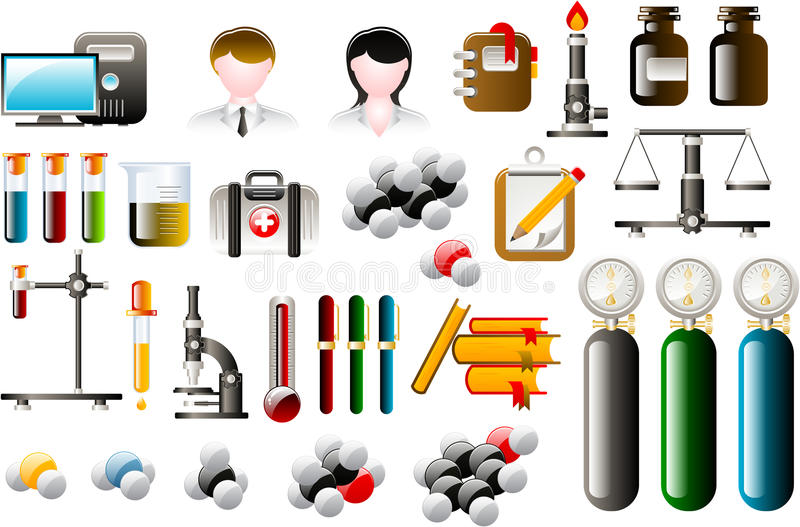 Chemical icons. Set of chemical icons a equipment royalty free illustration