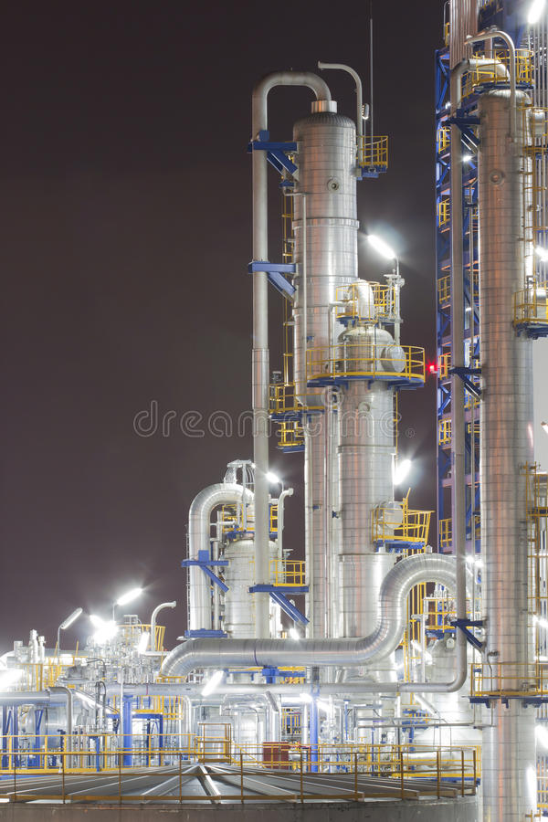 Chemical industrial plant in night time royalty free stock photo