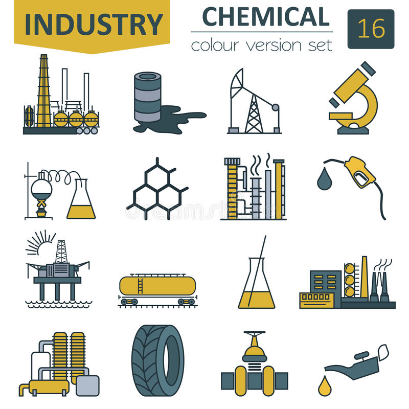 Chemical industry icon set. Colour version design. Vector illustration royalty free illustration