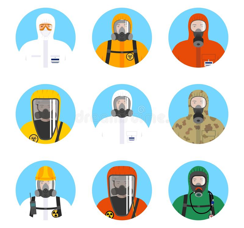 Chemical industry icons set. Different worker people in protective suits in flat style isolated on blue background royalty free illustration