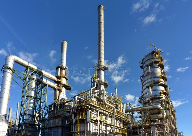 Chemical industry - refinery building for the production of fuels. Closeup stock photography