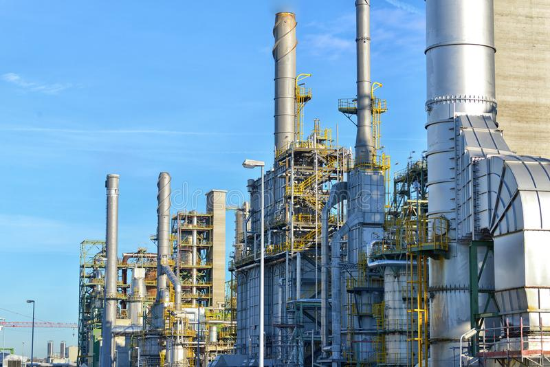 Chemical industry - refinery building for the production of fuels. Closeup royalty free stock photos