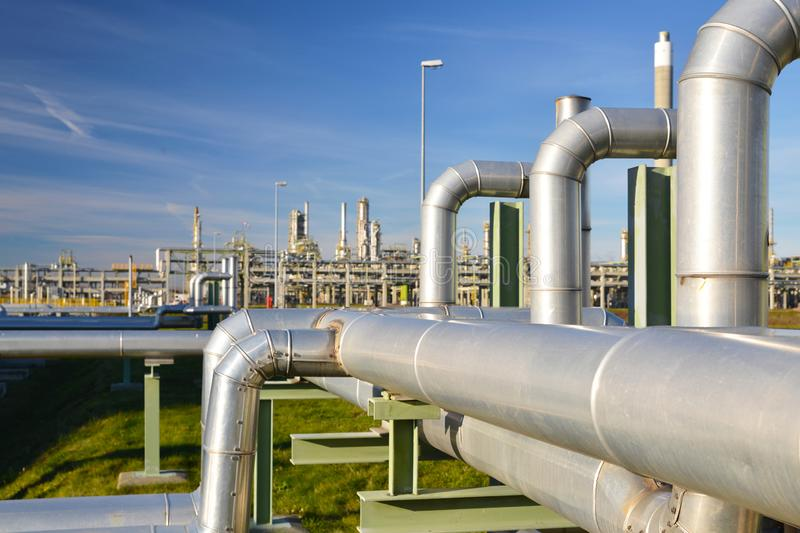 Chemical industry - refinery building for the production of fuels. Closeup stock photos