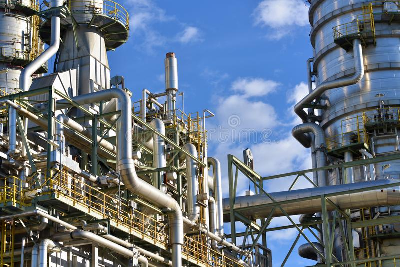 Chemical industry - refinery building for the production of fuel. S royalty free stock image
