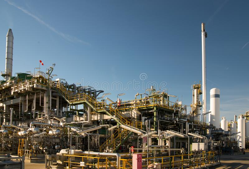 Chemical industry - refinery building for the production of fuel. S royalty free stock photos