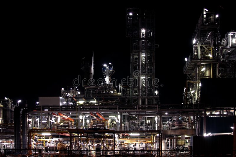 Chemical installation by night royalty free stock photography