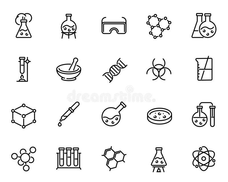 Chemical lab research vector linear icons set vector illustration