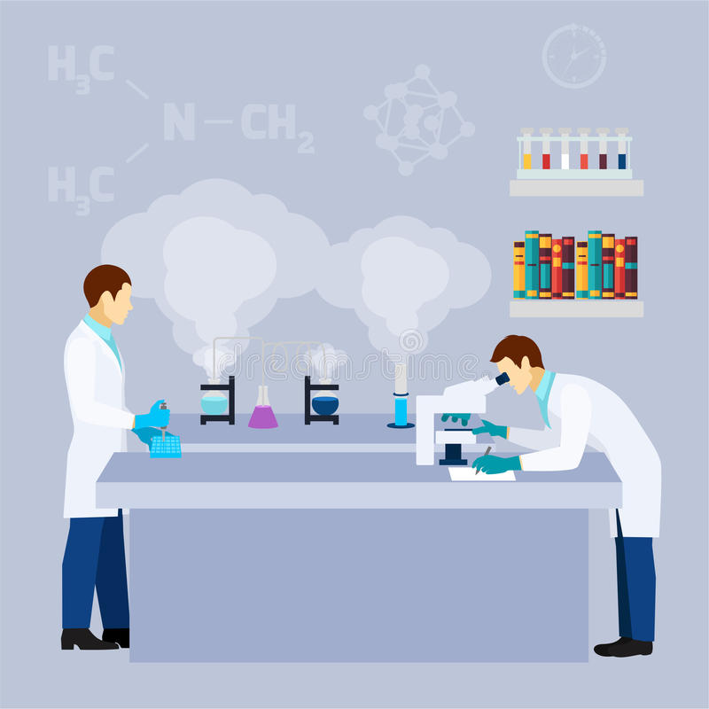 Chemical lab science research flat poster stock illustration