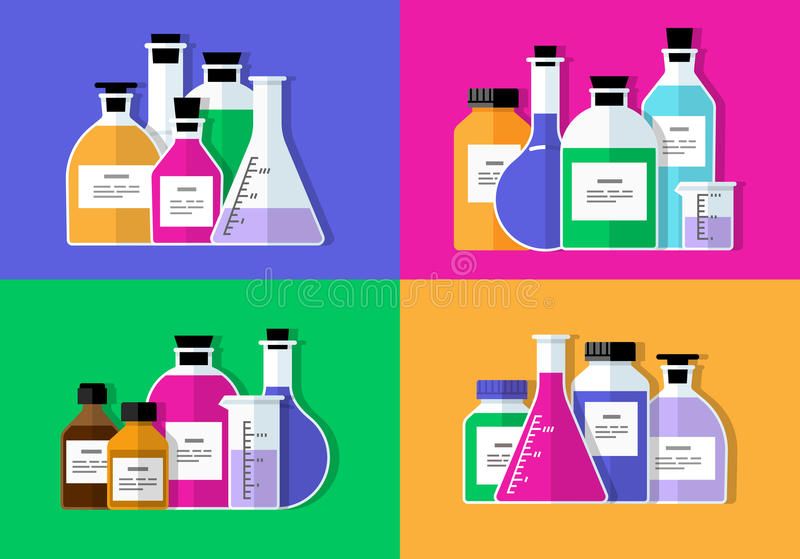 chemical laboratoriumforskning Plan design stock illustrationer