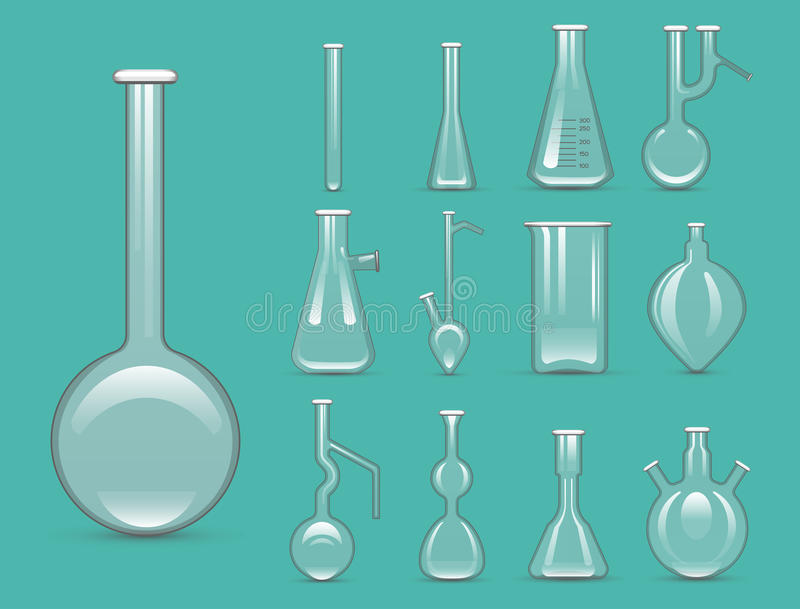 Chemical laboratory 3d lab flask glassware tube liquid biotechnology analysis and medical scientific equipment vector. Illustration. Chemistry experiment royalty free illustration