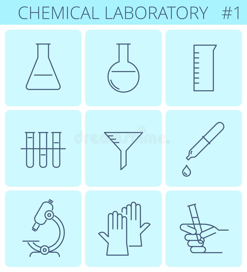 Chemical Laboratory Equipment Line Symbols Vector Thin Outline