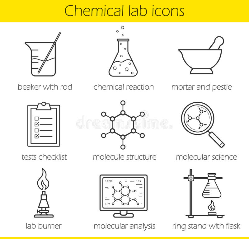 Chemical Laboratory Equipment Linear Icons Set Stock Vector