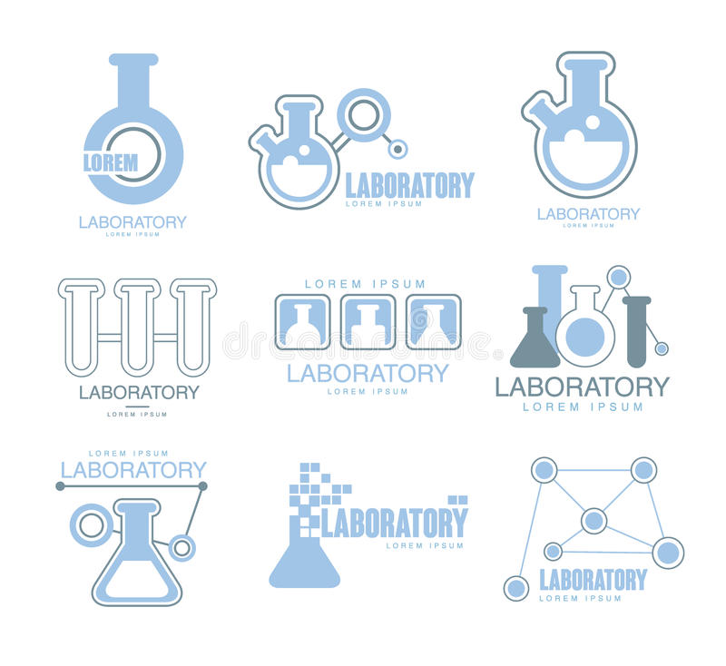 Download Chemical Laboratory Facility Logo Graphic Design Templates Set In Light Blue Color With Test Tubes Silhouettes Stock Vector - Illustration of physics, blue: 83477174