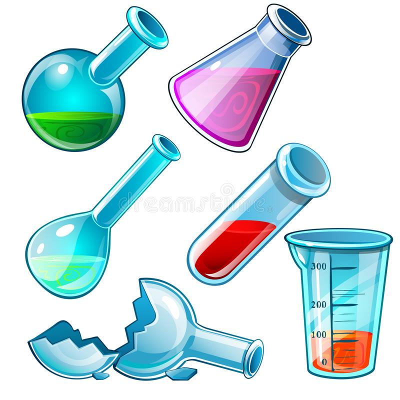 Chemical laboratory flasks with different liquid and broken tube. Medical research six icons isolated on white. Vector royalty free illustration
