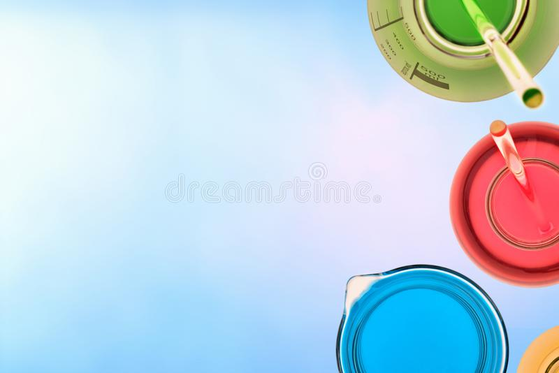 Chemical laboratory glassware close up top view royalty free stock photo