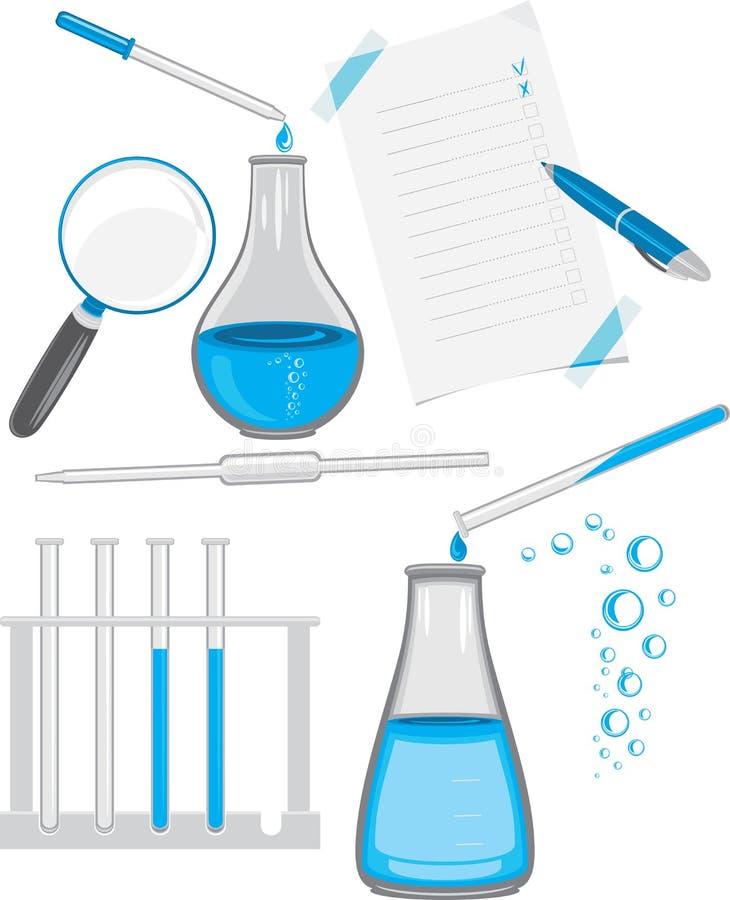 Chemical laboratory glassware stock image