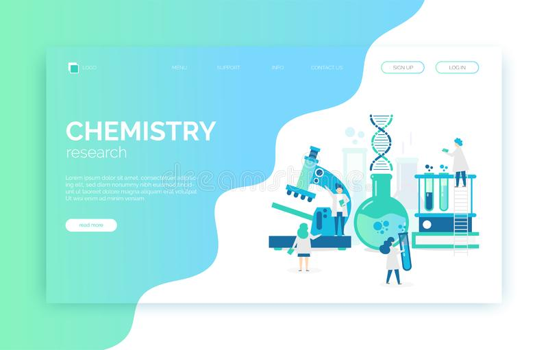 Chemical laboratory illustration with scientists, microscope, tubes, dna, researches. stock illustration