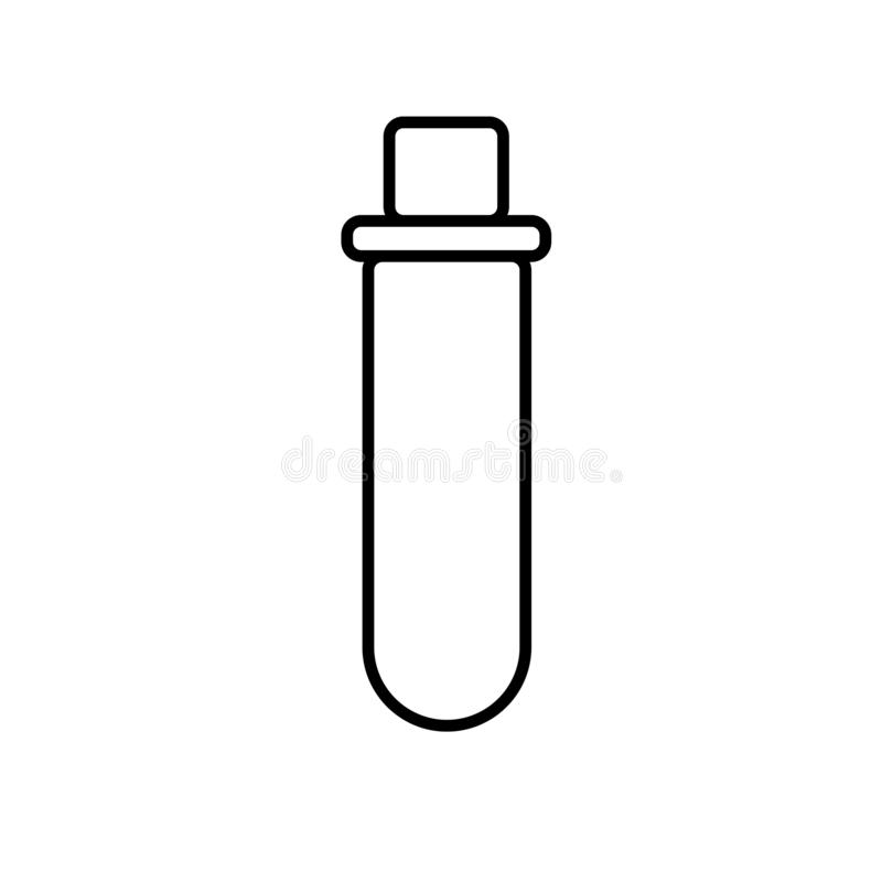 Chemical laboratory medical test tube, flask for drugs and chemical experiments, simple black and white icon on a white background royalty free illustration