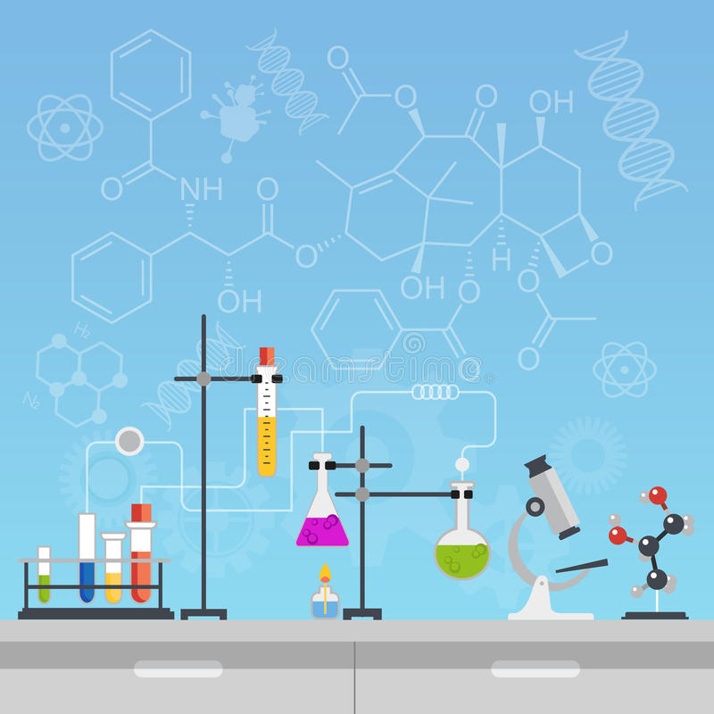Chemical laboratory science and technology flat style design vector illustration. Workplace tools concept with formulas. Chemical laboratory science and vector illustration
