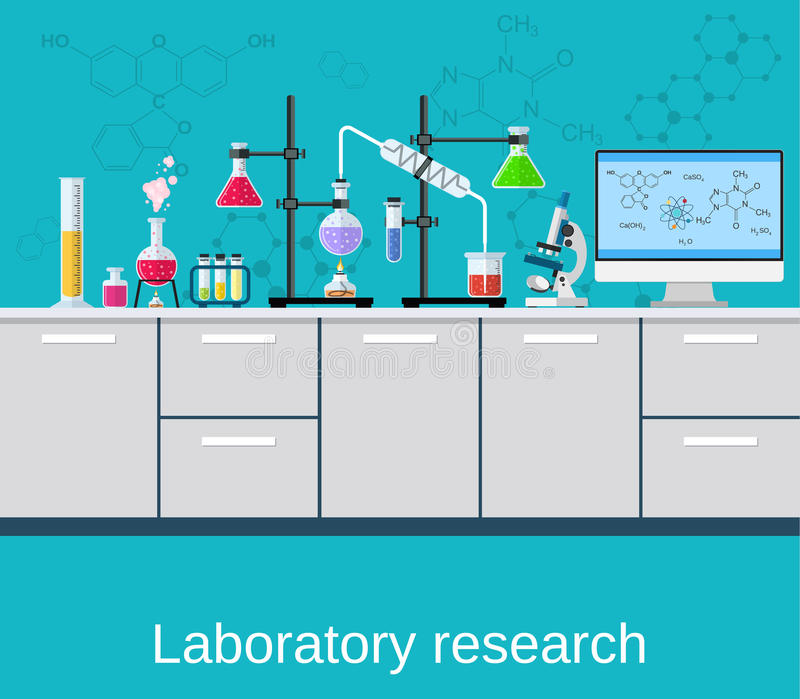 Chemical laboratory science and technology. Scientists workplace concept. Science, education, chemistry, experiment, laboratory concept. vector illustration in royalty free illustration