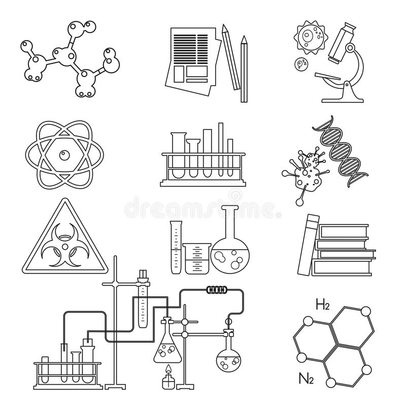 Chemical laboratory science and technology thin line icons set . Workplace tools.  stock illustration