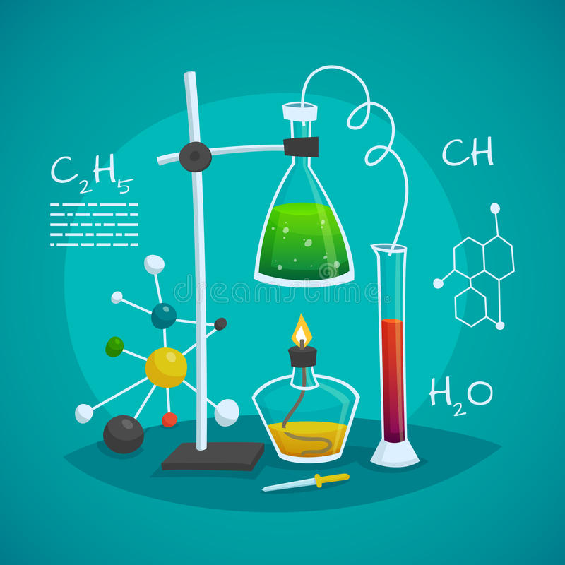 Chemical Laboratory Workspace Design Concept. With burner flask and glass tube vector illustration stock illustration