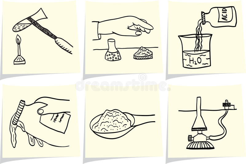 Download Chemical Laboratory On Yellow Memo Sticks Stock Vector - Illustration of alchemy, glass: 24086935
