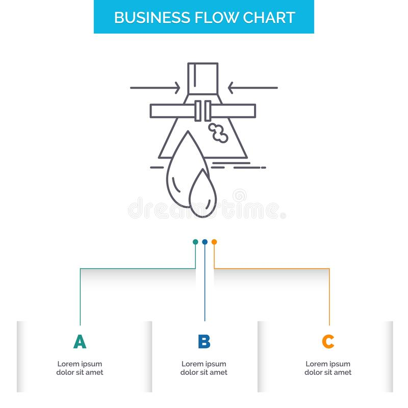 Chemical, Leak, Detection, Factory, pollution Business Flow Chart Design with 3 Steps. Line Icon For Presentation Background vector illustration