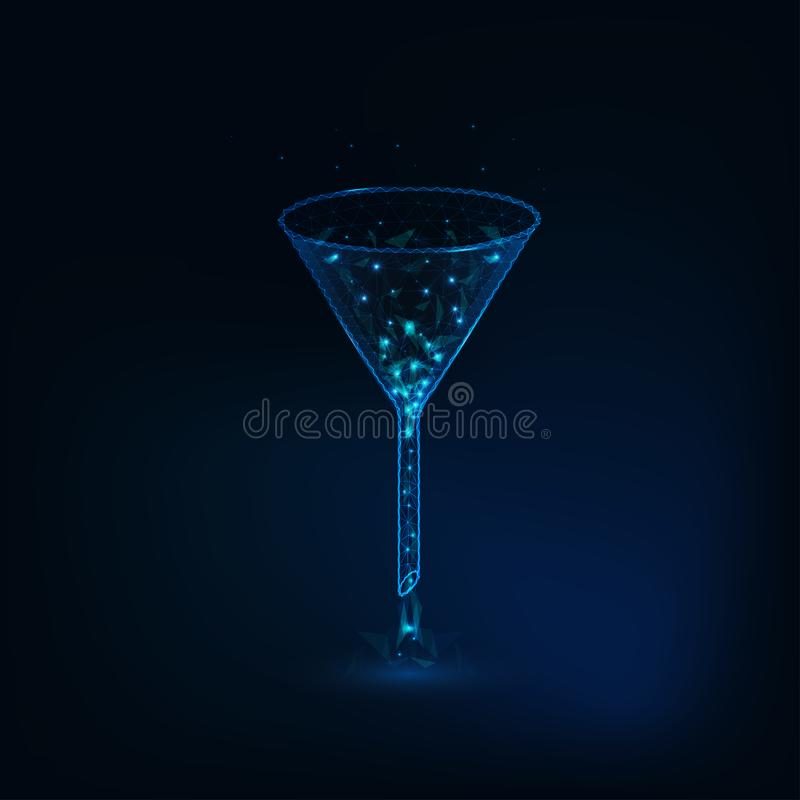 Chemical or medical glowing funnel in low polygonal wireframe design. stock illustration