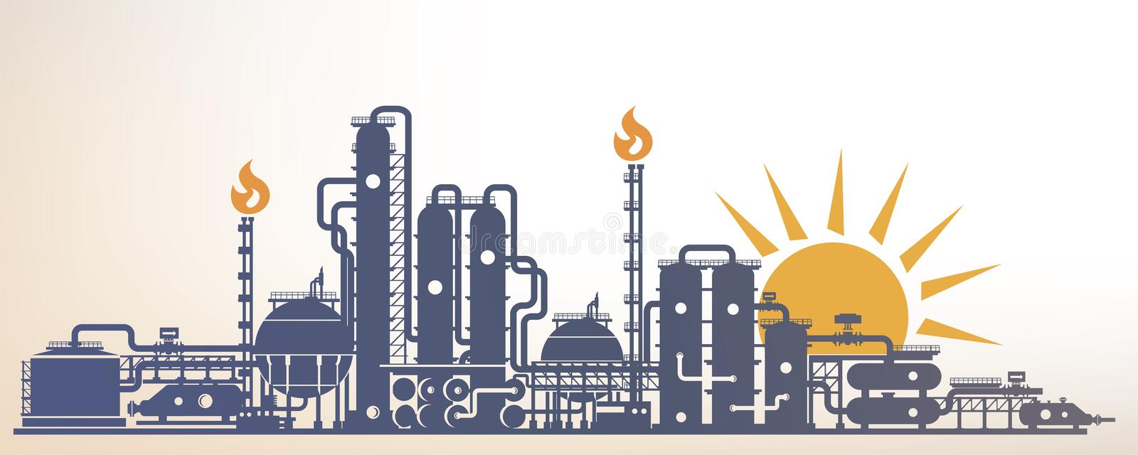 Chemical, petrochemical or processing plant royalty free illustration