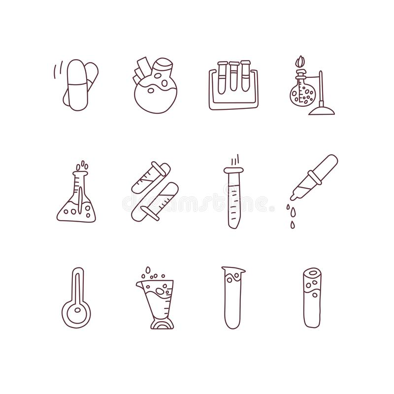 Chemical and physical test tubes, set of icons in cartoon style. Test tubes for experiments of scientists, science test royalty free illustration