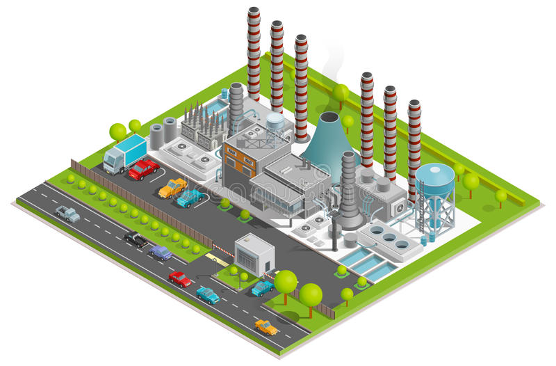 Chemical Plant Isometric Concept. With factory pipes fuel containers industrial buildings automobile parking vector illustration vector illustration