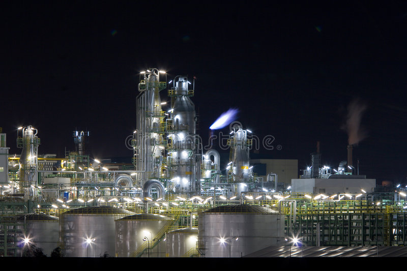 Chemical plant in night royalty free stock photography