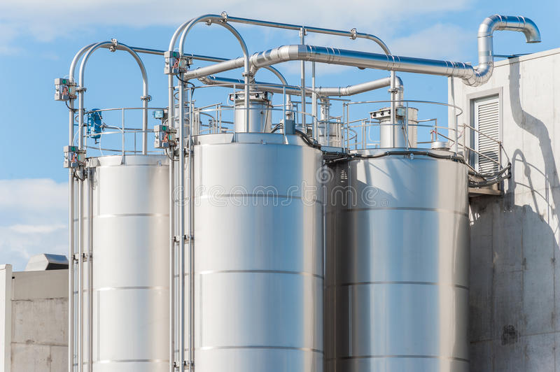 Chemical plant, silos royalty free stock photography