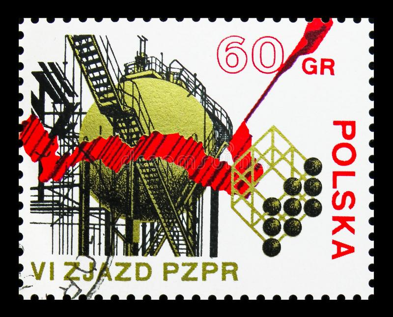 Chemical plant, 6th Congress Of The Polish United Worker's Party serie, circa 1971. MOSCOW, RUSSIA - SEPTEMBER 15, 2018: A stamp printed in Poland shows Chemical stock illustration