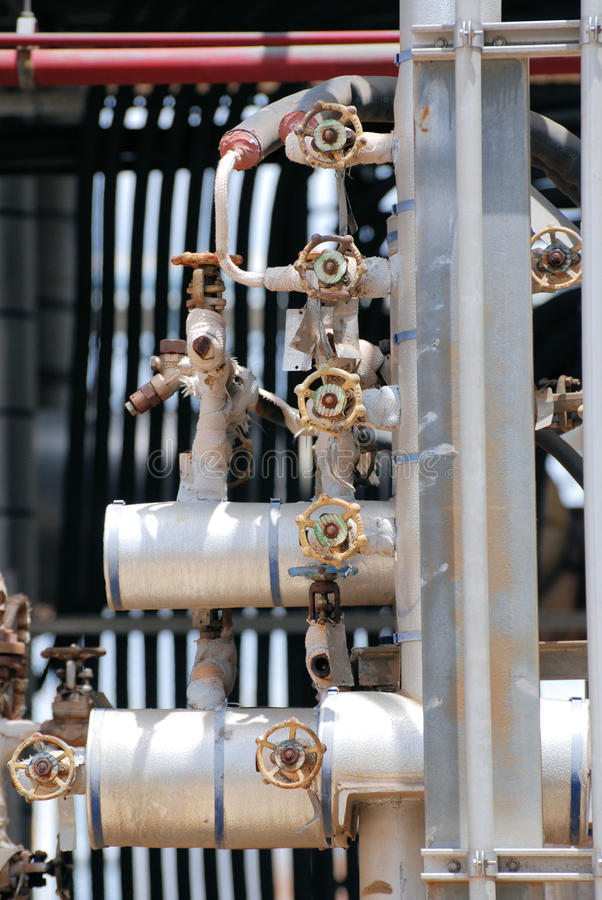 Chemical Process Valves and Piping stock photography