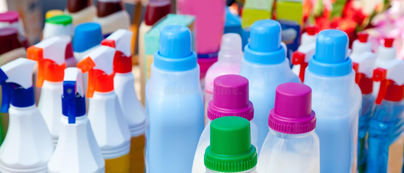 Chemical products for cleaning chores. Domestic chemical products for cleaning house chores stock photography