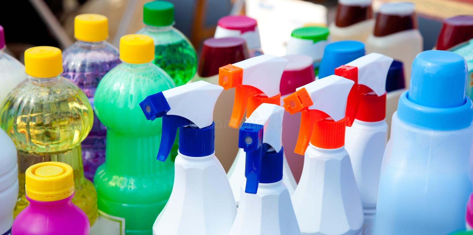 Chemical products for cleaning chores. Domestic chemical products for cleaning house chores stock image