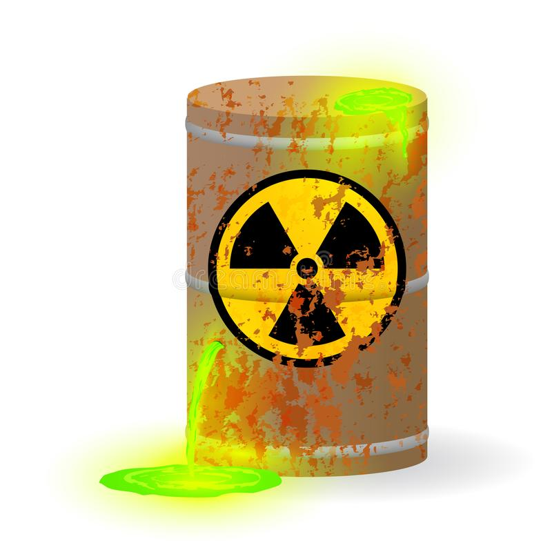 Chemical radioactive waste in a rusty barrel. Toxic green fluorescent liquid in a keg. Environmental pollution danger of. Vector illustration. Chemical vector illustration