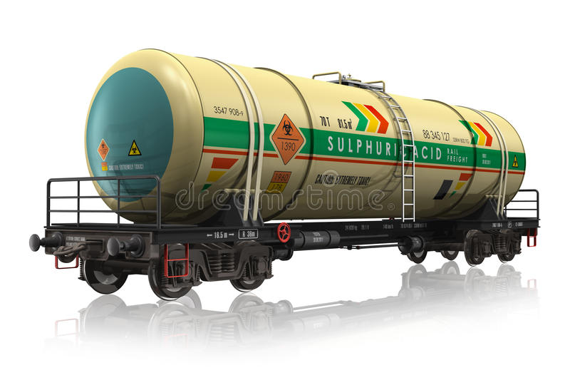 Chemical railroad tank car. Isolated on white reflective background vector illustration