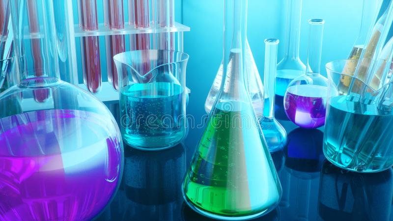 Chemical reaction, flasks with different laboratory glassware and liquid for analysis. Scientific laboratory on a blue stock illustration