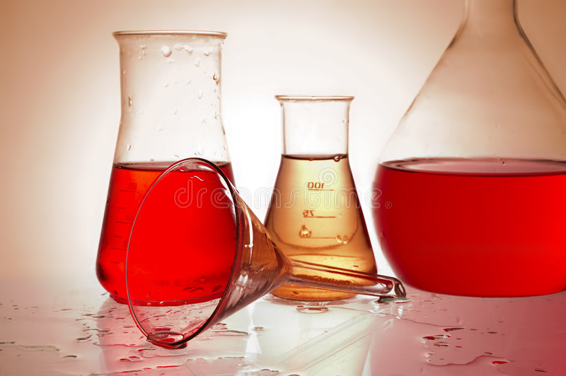 Chemical retorts royalty free stock images