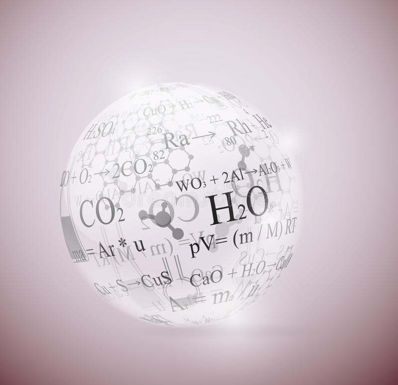Chemical sphere. Glass sphere with chemical formulas. Eps 10 royalty free illustration