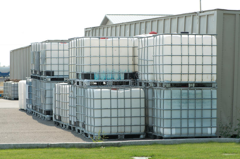 Chemical Storage. Reinforced chemical storage containers royalty free stock images