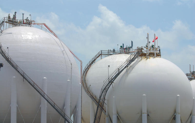 Chemical Storage Spheres royalty free stock photo