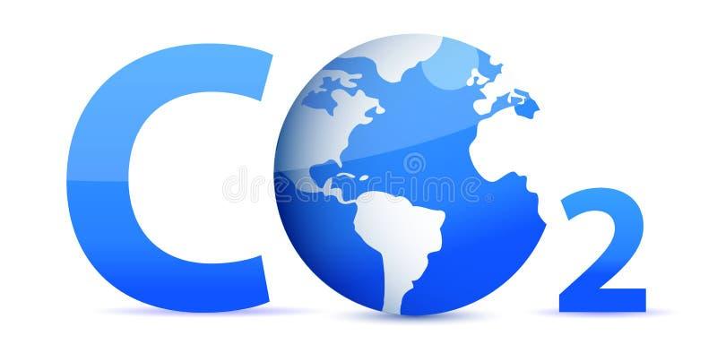 Chemical symbol CO2 for carbon dioxide in blue vector illustration