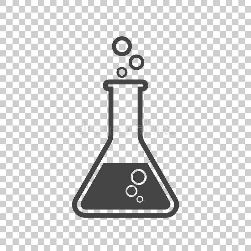 Chemical test tube pictogram icon. Chemical lab equipment isolated on isolated background. Experiment flasks for science royalty free illustration