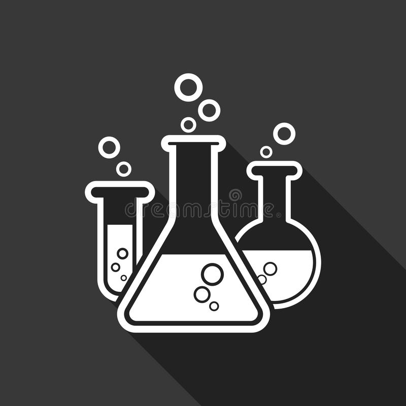Chemical test tube pictogram icon. Laboratory glassware or beaker equipment isolated on black background with long shadow. royalty free illustration
