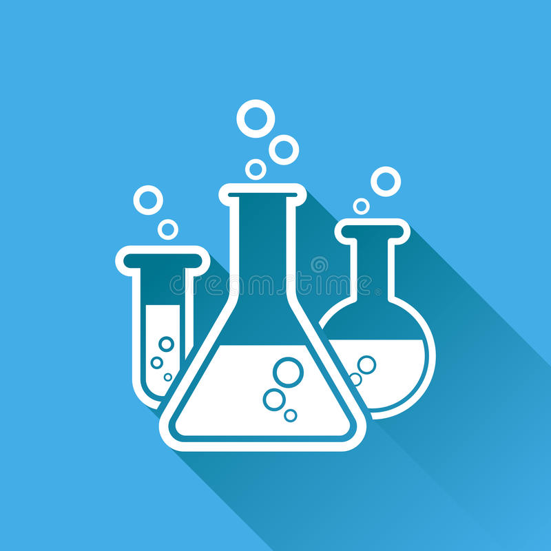 Chemical test tube pictogram icon. Laboratory glassware or beaker equipment isolated on blue background with long shadow. stock illustration