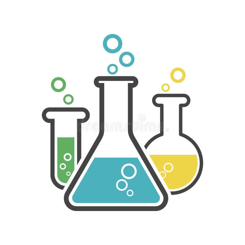 Chemical test tube pictogram icon. Laboratory glassware or beaker equipment isolated on white background. Experiment flasks. royalty free illustration